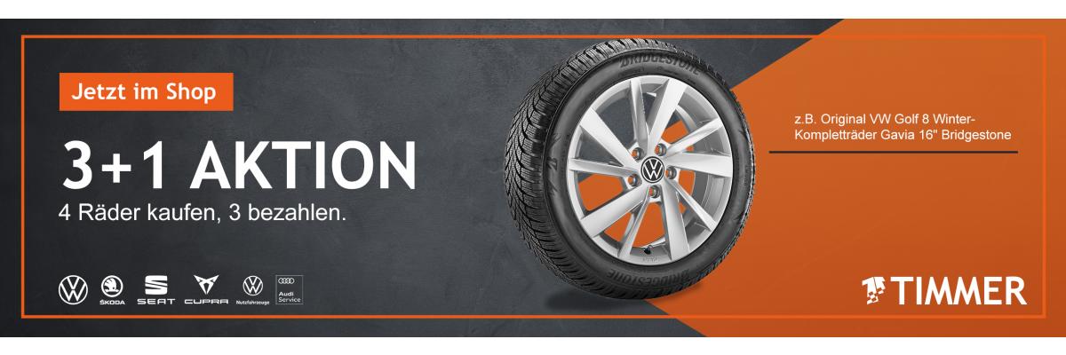 Volkswagen 3 + 1 Aktion - 3 Winter-Komletträder kaufen, 4 Stück erhalten  - Volkswagen 3 + 1 Aktion - 3 Winter-Komletträder kaufen, 4 Stück erhalten